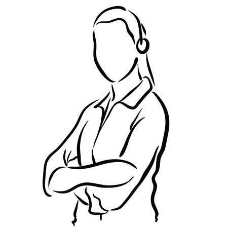 sketch female tech support Vector