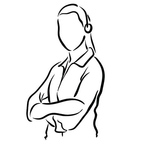 sketch female tech support Ilustração