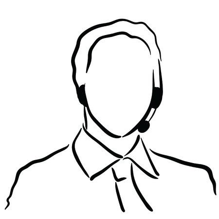sketch tech support male Ilustração