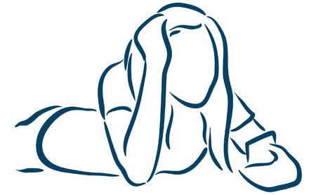 cel: girl with smartphone Illustration