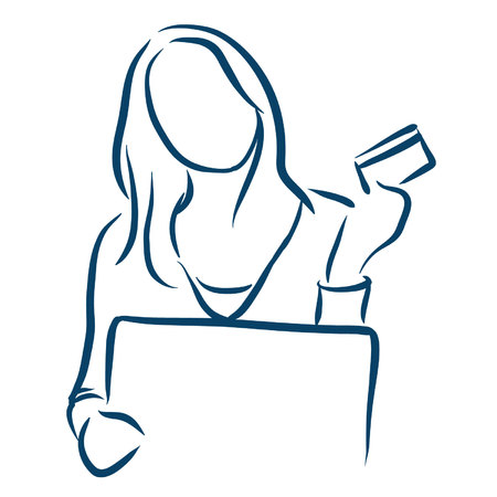 woman credit card: woman credit card on a computer