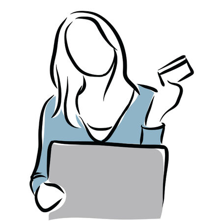 woman credit card on a computer