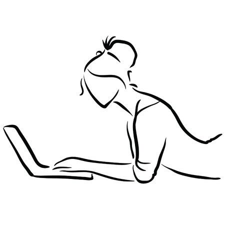 prostitute: female on laptop