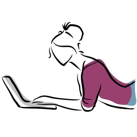 prostitue: vrouw op laptop Stock Illustratie