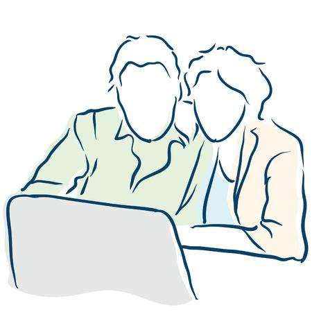 couple on a computer Vector