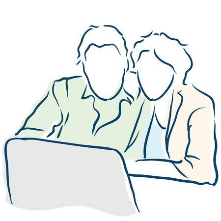 couple on a computer Vector