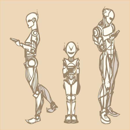 texting: Robots texting Illustration