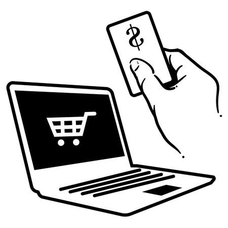 オンライン クレジット カード車やノート パソコンを購入します。  イラスト・ベクター素材
