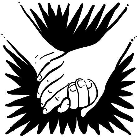 手を取り合って  イラスト・ベクター素材
