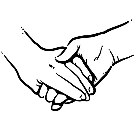 holding hands black and white vector art
