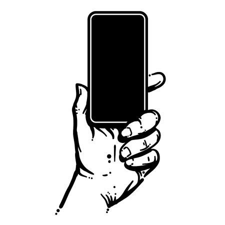 Telefoon in de hand houden Stock Illustratie