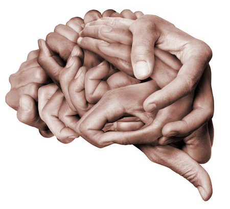 A human brain made with hands. Colored with white background.
