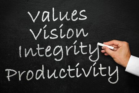 Values, vision, integrity and productivity. How to build a company culture that drives productivity. Blackboard with hand with chalk in hand.