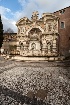 Ancient monumental fountain with sculpture. Organ Fountain (Fontana dell Organo) Villa D Este, Tivoli. Italy. Example of Renaissance architecture.