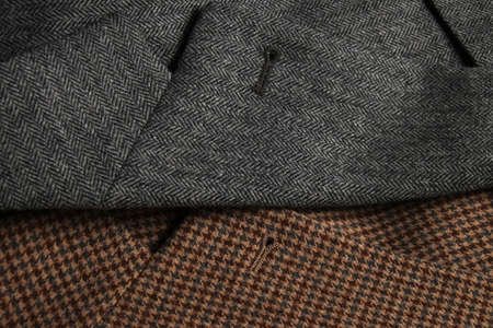 lapels: Two tweed coat lapels side-by-side