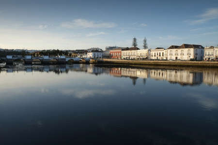 Tavira city by Gilao river in Portugal