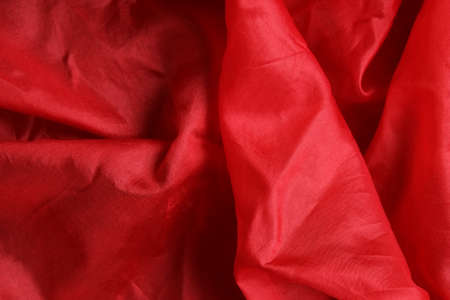 Smooth and shiny vivid red silk handkerchief