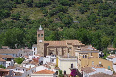 Overview of Almonaster village in Huelva. Andalucia, Spain