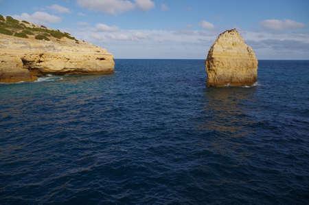Carvalho beach in Carvoeiro, Lagoa. Famous travel destination in Algarve, Portugal Фото со стока - 80936146
