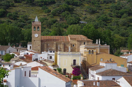 Overview of Almonaster village in Huelva. Andalucia, Spain Фото со стока - 80923884