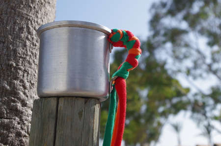 Aluminum cup from summer festivals. A popular eco-friendly alternative to plastic cups