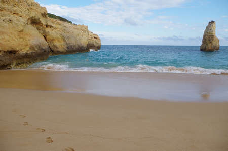 Carvalho beach in Carvoeiro, Lagoa. Famous travel destination in Algarve, Portugal