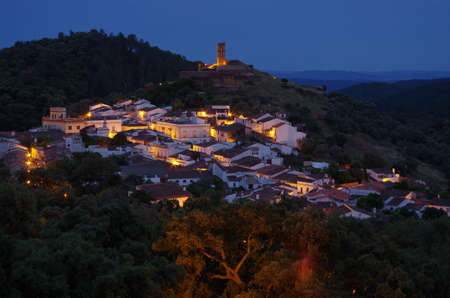 Overview of Almonaster village in Huelva. Andalucia, Spain Фото со стока - 81099061