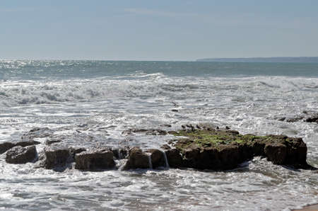 Scene captured in Chiringuitos beach (also called Gale beach), Albufeira. Algarve, Portugal Фото со стока - 84407701