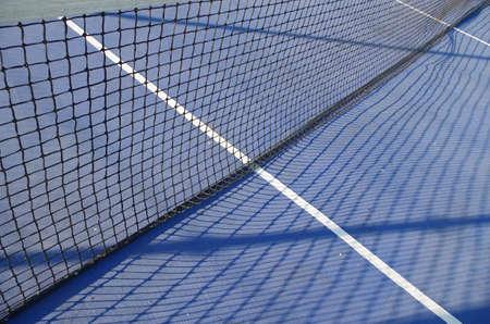 Blue Tennis Court Scene. Sports and Lifestyles Фото со стока - 84392307
