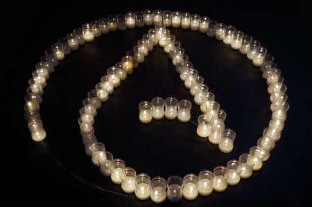 Atheism symbol made with candles. Religion and spirituality