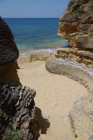 Olhos De Agua beach in algarve, Portugal. Travel destinations Фото со стока