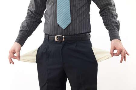 bolsillos vacios: Persona de negocios en quiebra con los bolsillos vac�os