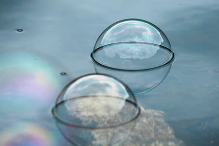 sudsy: Soap bubbles on water natural background
