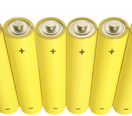 nimh: Yellow batteries over white Stock Photo