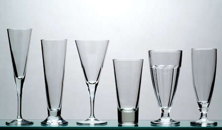 Various long drink glasses Stock Photo