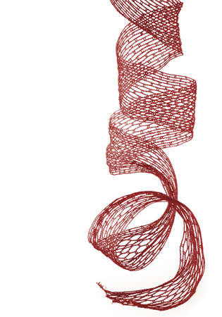 Red christmas ribbon over white Stock Photo