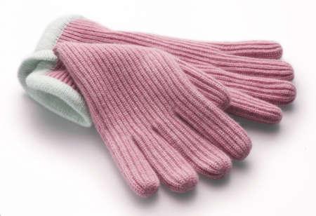 pink woolen gloves