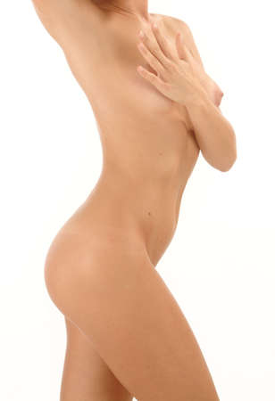 Woman nude over white Stock Photo