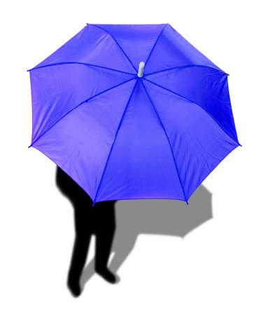 Blue umbrella and a mans shadow