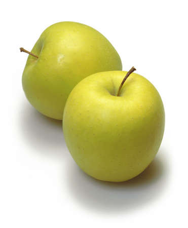 two apples over white
