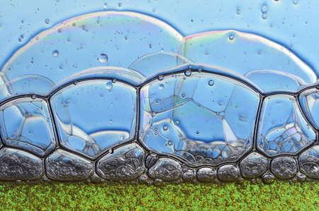 close up of soap foam, geometric shape Stock Photo