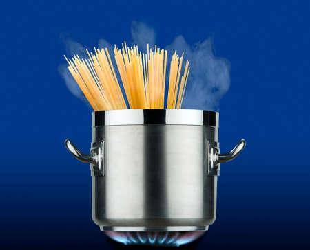 pot of spaghetti on the stove