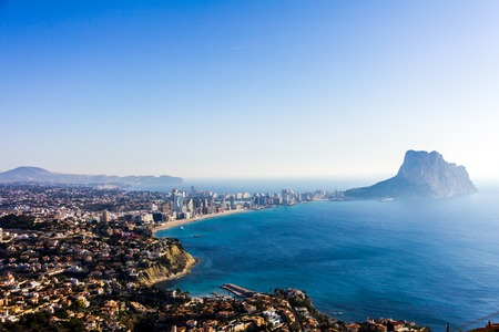 Panoramic view of the Calpe bay and the Peñón de Ifach, from the viewpoint of Morro de Toix