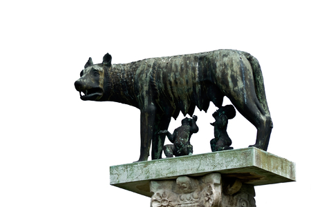 breastfeed: She-wolf breast-feed Romulus and Remus. Pisa. Italy. Stock Photo