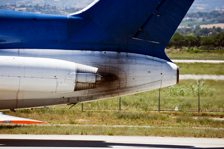 private parts: The jet engine of the Russian plane. The airport. Rimini. Stock Photo