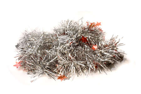 holiday garland: Christmas tinsel isolated on white background