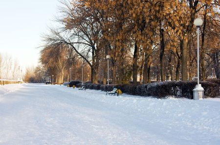 Winter snowy town park in Samara. Russia. Stock Photo - 2298128