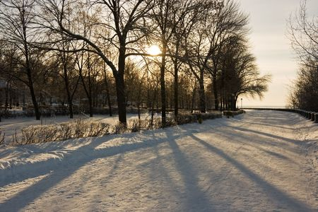 Winter snowy town park in Samara. Russia. Stock Photo - 2298150