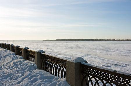 Winter snowy quay and river Volga in Samara. Russia. Stock Photo - 2298125