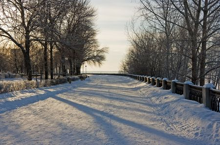 Winter snowy town park in Samara. Russia. Stock Photo - 2298149